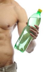 Muscular Man with green bottle-body part in white background