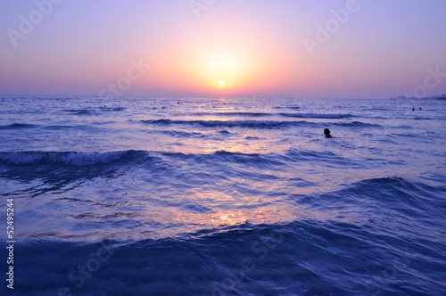 Deep Sunset at Persian Gulf in Dubai, UAE