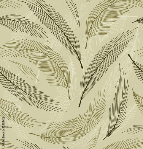 Grey seamless vintage background with plumes