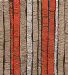 Rows of red and brown hand-drawn vertical folds