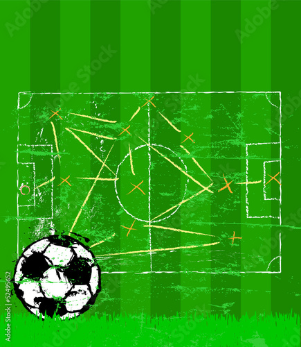 soccer illustration, tactics plan and grungy soccer ball