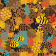 Seamless pattern with flowers and bees.