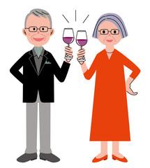 シニア カップル ワイン