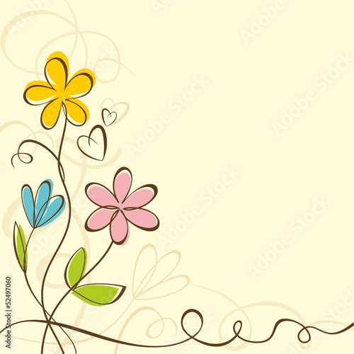 Background with bright summer flowers. Floral card.