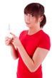 Die junge Frau mit dem Schwangerschaftstest