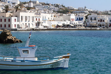 Fishing boat in the harbor of Mykonos island, Greece