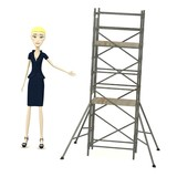 3d render of cartoon character with scaffolding