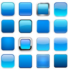 Square blue app icons.