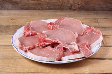 chuletas de cerdo crudo