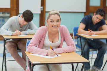 Writing students in a classroom