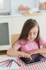 Young girl using a tablet computer