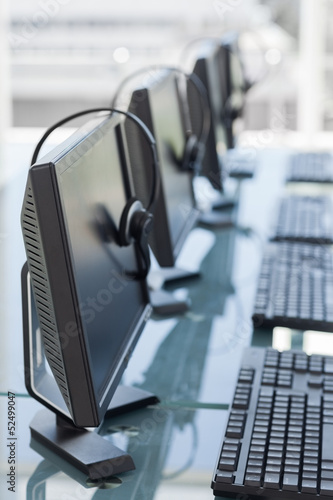 Computers and headsets from a call center