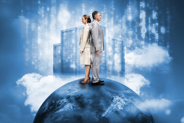 Business people on top of the world with data server