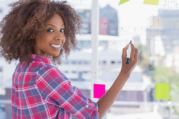 Woman drawing on flowchart with sticky notes and smiling at came