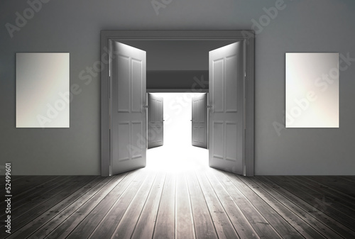 Doorways opening to reveal bright light
