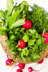 Fresh dil, sorrell and radish in a wicker basket on white wooden