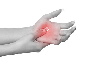 Acute pain in a woman palm