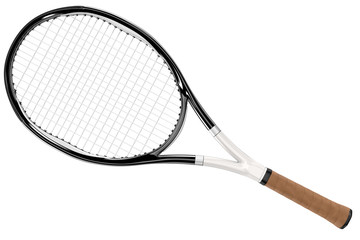 Tennis Racket Black and White