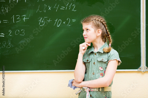 School girl thinking at blackboard