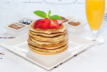 breakfast  Pancakes with strawberries