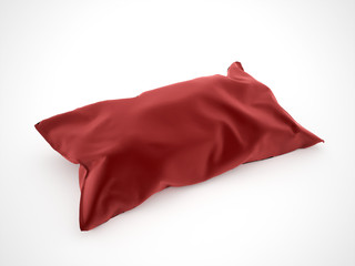 Pillow red on white background