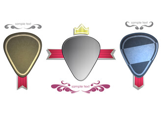 Plectrums labels on white background