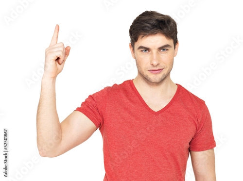 Young serious man with good idea sign