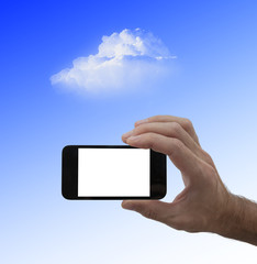 blank screen smartphone in male hand, and cloud