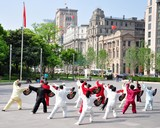 Fototapety Tai Chi am Bund in Shanghai China 6