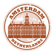 Stamp with words Amsterdam, Netherlands inside, vector