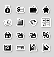 Finance icons on stikers
