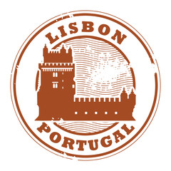 Stamp with Belem Tower and the words Lisbon, Portugal inside