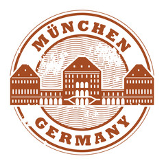 Grunge rubber stamp with words Munchen, Germany inside, vector
