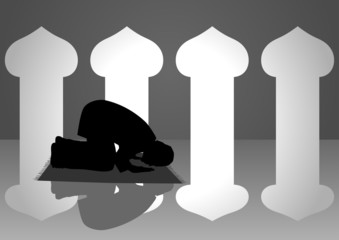 Silhouette illustration of a moslem man praying in the mosque