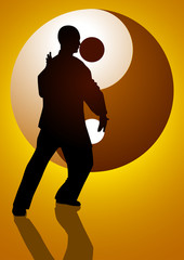 A man figure doing taichi with Yin Yang symbol as the background