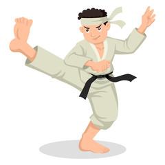 Cartoon illustration of karate boy