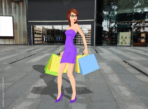 A woman walking on sidewalk carrying shopping bags