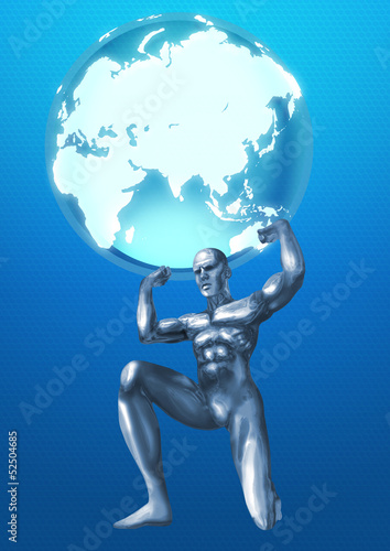 A chrome man was lifting the Globes