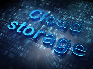 Privacy concept: Blue Cloud Storage on digital background