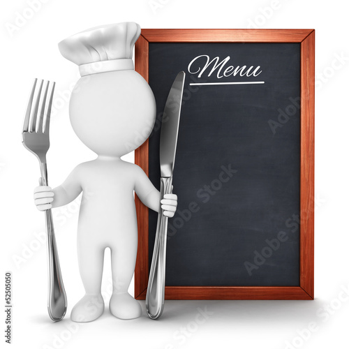Leinwandbild Motiv 3d white people chef with menu