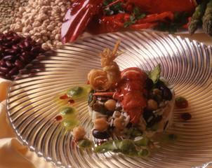 Astice con paella di legumi