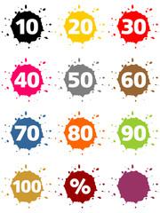 Bunte Kleckse als Buttons mit Prozentzeichen und Zahlen