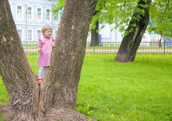 Cute little girl climbing on a tree