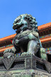 Detail of bronze statue of a lion at the forbidden city