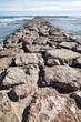 Stone breakwater in Valencia, Spain