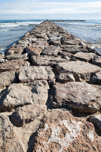 Stone breakwater in Valencia, Spain