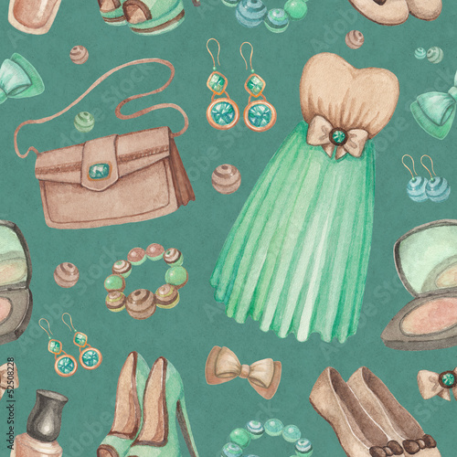 Watercolor illustrations of dresses and accessories. Seamless pa