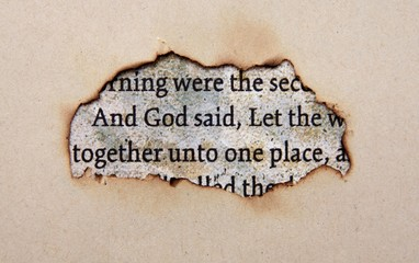 Bible text on paper hole