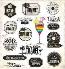 Summer holiday and travel time retro Label