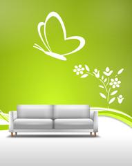 Sofa mit Wandtattoo Natur